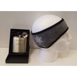 Engraved Hip Flask& Ear warmers