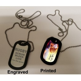 Army style dog tag, printed or engraved